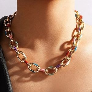 NEW CHUNKY COLORFUL CUBAN CHAIN LINK NECKLACE